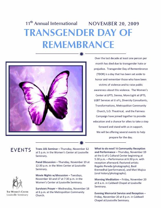 Poster for Transgender Day of Remembrance 2009 events