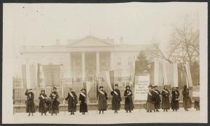 image of National Women's Party picketers outside White House